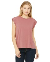 Flowy Muscle T-Shirt with Rolled Cuff