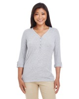 Ladies Perfect Fit Y-Placket Convertible Sleeve Knit Top