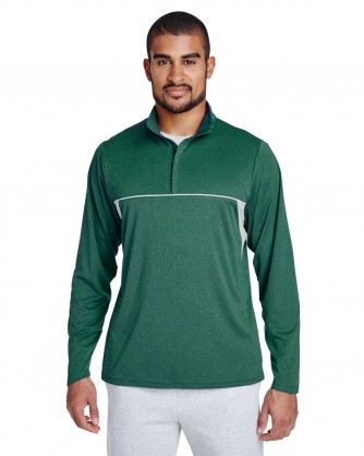 Excel Melange Interlock Performance Quarter Zip Top