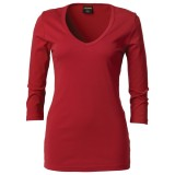 Ladies 3/4 Sleeve Deep V-Neck Long T-Shirt