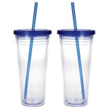 Clear Tumbler with Coloured Lid - 24oz