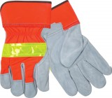 Hi-Viz Leather Gloves With Safety Cuffs