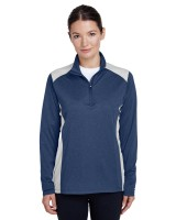 Ladies' Excel Melange Interlock Performance Quarter Zip Top