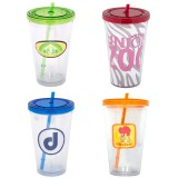 500 ml. (16 oz.) Double Walled Tumbler With Straw